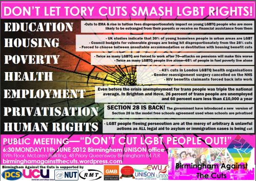 Don't Cut LGBT People Out - Flyer for June's meeting